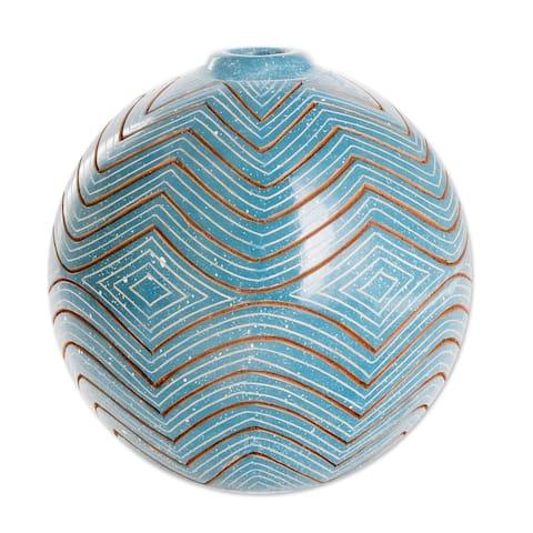 Handmade Harmonic Geometry Ceramic Decorative Vase (Nicaragua)