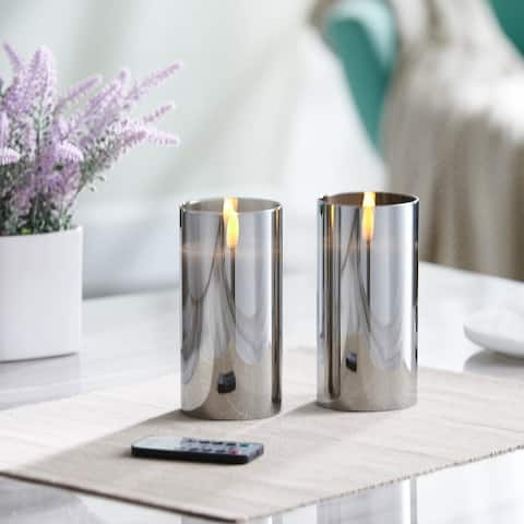 Mirrored Glass LED Flameless Candle Set of 2