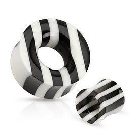 Black and White Striped Organic Horn and Bone Saddle Fit Tunnel (Sold Individually)