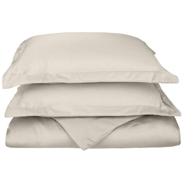 Miranda Haus 600-Thread Count Cotton Solid Hemstitch Duvet Cover Set - Ivory - Twin