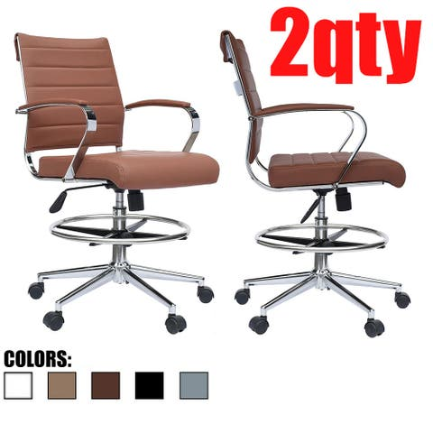 Set of 2 Modern Designer Drafting Chair Stools with Arms Ribbed Computer Brown Tilt Counter Bar Height For Work Desk
