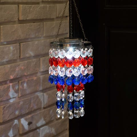 """Glitzhome 19""""H Solar Lighted Hanging Decor with Multicolored Acrylic Jewel Beads"""