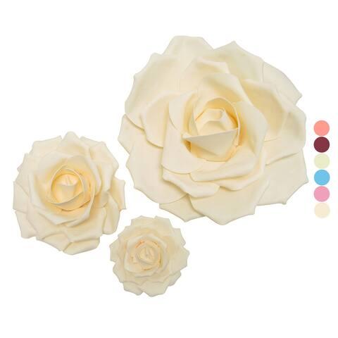 Set of 3 Large Foam Rose Flower Wall Decor Art Backdrop
