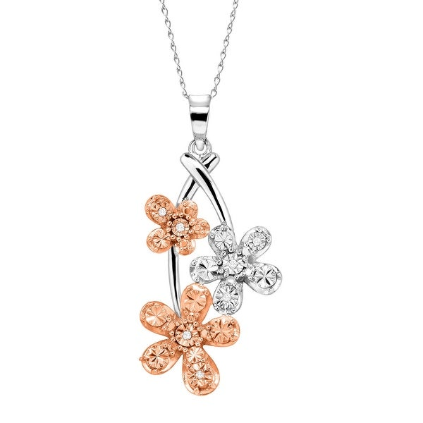 Triple Flower Pendant Necklace with Diamonds in 14K Rose Gold-Plated Sterling Silver - champagne