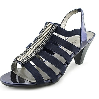 Karen Scott Niomii Women Open Toe Canvas Blue Sandals