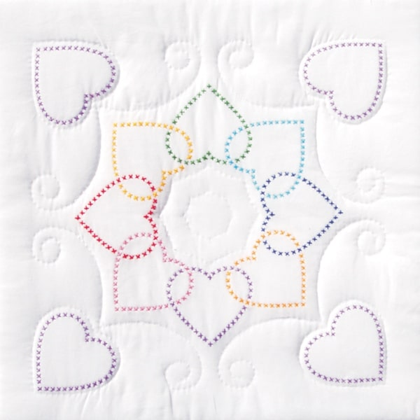 "Stamped White Quilt Blocks 18""X18"" 6/Pkg-XX Hearts Circle"