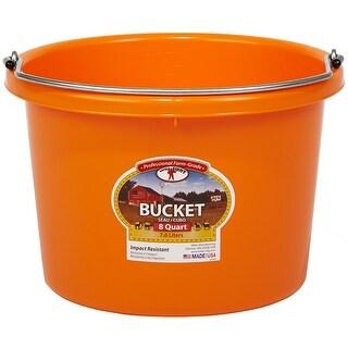 Little Giant P8ORANGE Round Plastic Bucket, 8 Quart, Orange