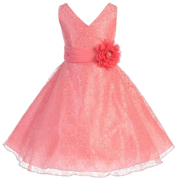8d84dba1aa7c0 Shop Flower Girl Dress V-Neck Overlay Chiffon Belt & Flower Coral JK 3620 - Free  Shipping On Orders Over $45 - Overstock - 17752314