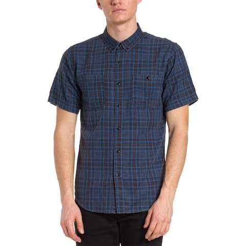 Ezekiel Mens Edgewater Button-Down Shirt Plaid Woven - Navy - M