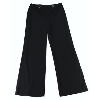 INC NEW Deep Black Womens Size 12 Rivet Wide-Leg Trouser Dress Pants