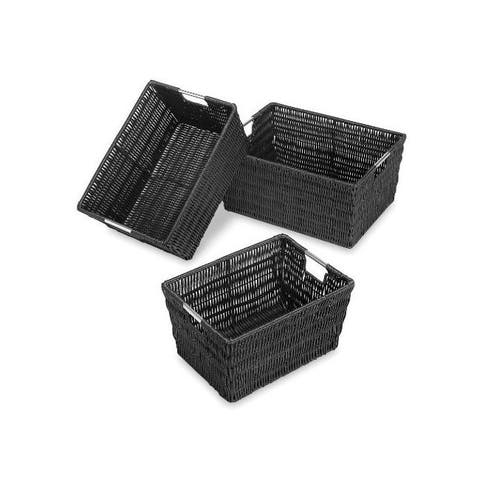Whitmor 6500-1959-blk rattique storage baskets 3 blk