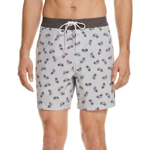 "Michael Bastian Mens Bicycle Print Swim Trunks Large L Shorts 6"" Inseam Grey"