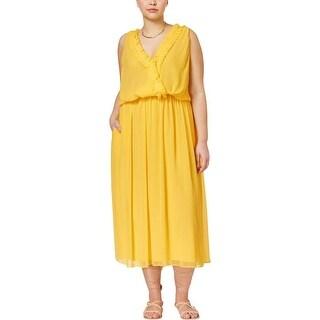 Rachel Rachel Roy Womens Plus Semi-Formal Dress Sheer Pleated