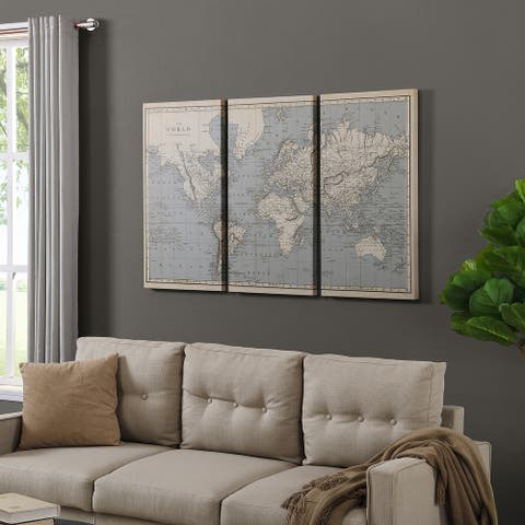 FirsTime & Co.® Vintage World Map Canvas 3-Piece Set, American Crafted, Antiqued Tan, Canvas, 54 x 1.5 x 35 in