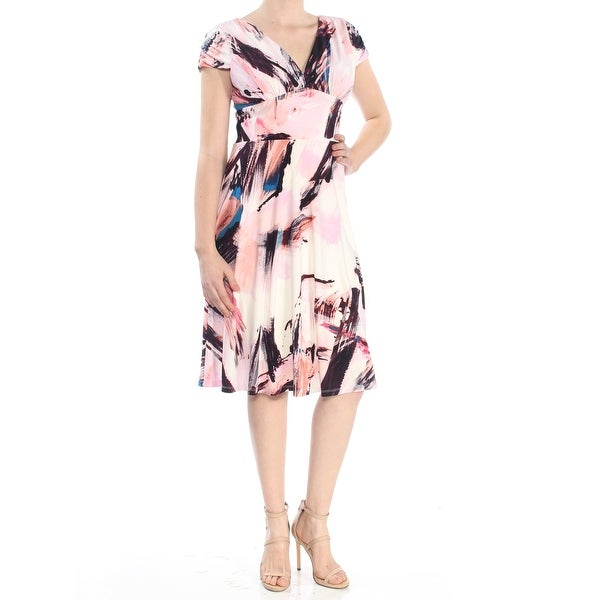 DKNY Womens Pink Printed Sleeveless V Neck Above The Knee Fit + Flare Dress Size: 8