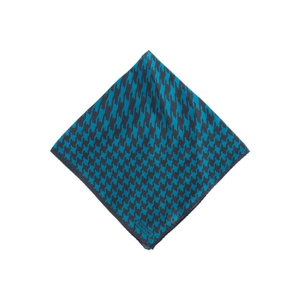 Tom Ford Mens Black Teal Houndstooth Print Silk Pocket Square
