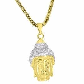 Custom Mens Buddha Head Pendant 18k Gold Tone Gods Simulated Diamonds Franco Chain