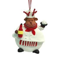 Roman 5243362 3.5 in. Chubby Reindeer Chef Christmas Ornament