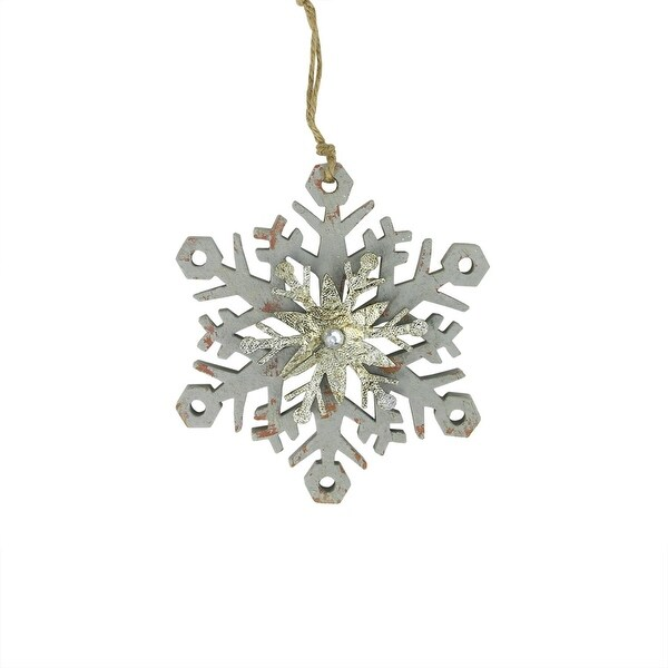 "6.75"" Gray and Silver Country Rustic Snowflake Christmas Ornament"