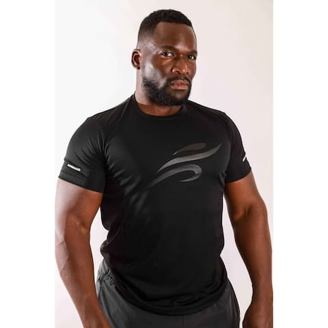 Cyclops Men's Athletic Body-Sculpting Short Sleeve Workout Shirt with Reflective Strips