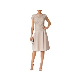 Alex Evenings Womens Petites Special Occasion Dress Embroidered Cap Sleeves - 14P