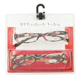 Elizabeth Arden Womens 2 Pack Plastic Reading Glasses +2.0 Pink/Green EA001, Includes Elizabeth Arden Soft Fashion Case - Pink