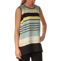 VINCE CAMUTO Womens Light Blue Striped Sleeveless Jewel Neck Top  Size: S