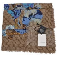 "Gucci Women's 508797 Large Wool Blue Pansie BLOOMS GG Scarf Shawl Wrap - 55"" x 55"""