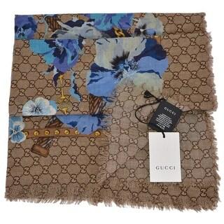 """Gucci Women's 508797 Large Wool Blue Pansie BLOOMS GG Scarf Shawl Wrap - 55"""" x 55"""""""