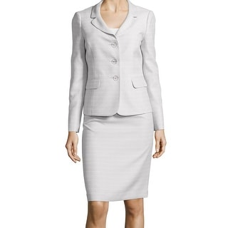 Le Suit NEW Gray Women's Size 10 Textured Three Button Skirt Suit