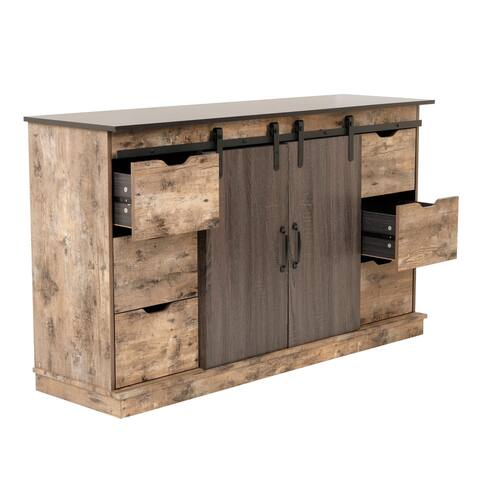 OS Home and Office Model 41003 Zion Six Drawer Storage Cabinet with Two Sliding Barn Style Doors - 52 x 63