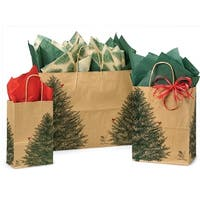 Pack Of 125, Assortment Evergreen Tree Recycled Paper Shopping Bags 50 Rose, 50 Cub & 25 Vogue Made In Usa