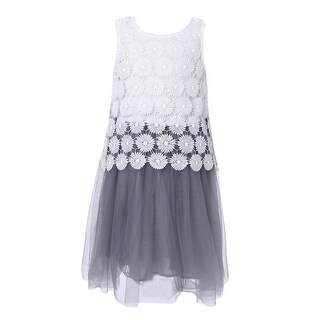 Richie House Little Girls White Grey Lace Mesh Bottom Sweet Summer Dress 3-6