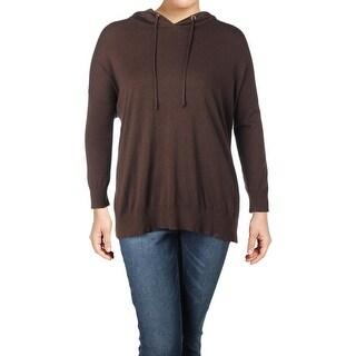 Lauren Ralph Lauren Womens Plus Hoodie Jersey Faux Leather Trim