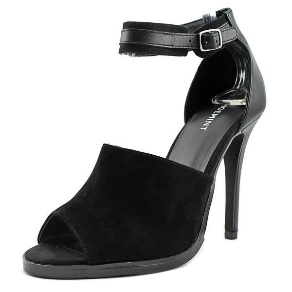 ShoeMint Paloma Women Peep-Toe Suede Black Heels