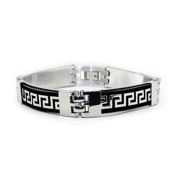 Stainless Steel Greek Key Design and Black Rubber Bracelet 8.75 Inches