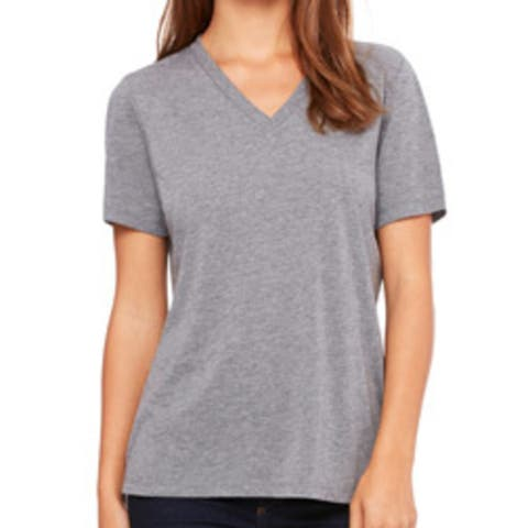 Bella 6405 Ladies Relaxed Jersey Short-Sleeve V-Neck Tee - Grey Triblend Extra Large
