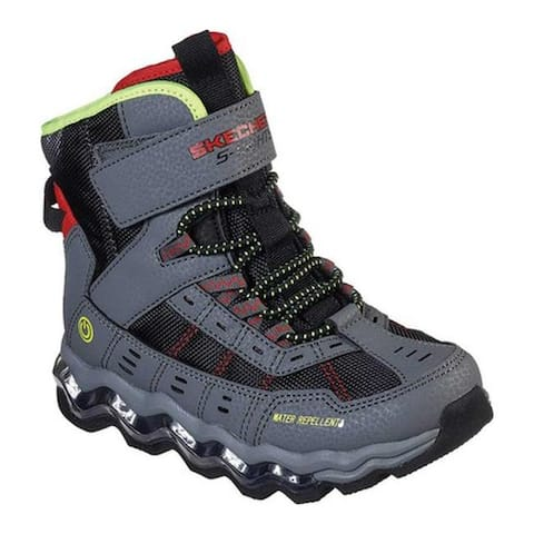 Skechers Boys' S Lights Turbowave Polar Rush Boot Charcoal/Red
