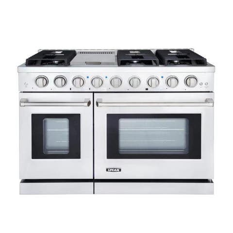 "LYCAN Heavy Duty Freestanding Stainless Steel 48"" Professional Style Gas Range with 6 Burners and Double Oven"
