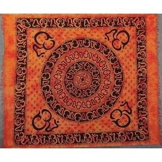 "Handmade Tie Dye Om Print Symbol 100% Cotton Tapestry Bedspread Throw Beach Sheet Dorm Decor Gold Full 84"" x 96"""