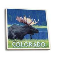 Colorado - Moose in Moonlight - LP Artwork (Set of 4 Ceramic Coasters)