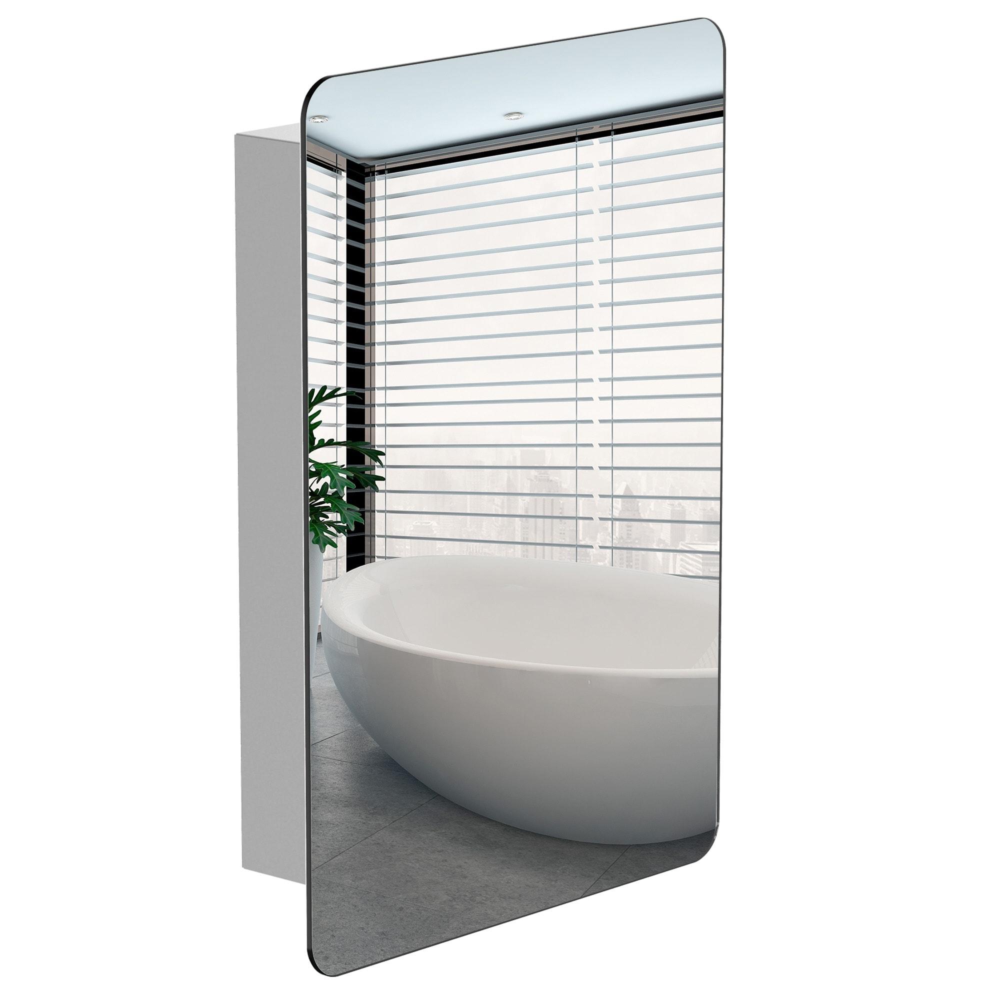 Kleankin 18 X 26 46cm X 66cm Wall Mount Bathroom Medicine Cabinet Mirror Sliding Door With 3 Tier Storage Shelf On Sale Overstock 32200887