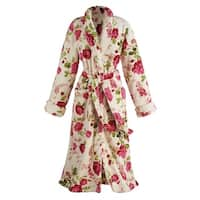 Women's Floral Print Long Cozy Wrap Bathrobe - Shawl Collar Patch Pockets
