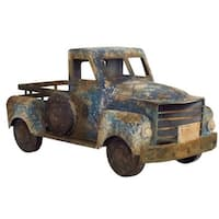 """18"""" Metal Country Rustic Blue and Brown Pickup Truck"""