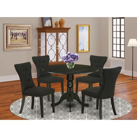 DLGA5-ABK-24 5-Pc Dining Set Included a Table & 4 Parson Chairs, Black Linen Fabric, Wirebrushed Black Finish