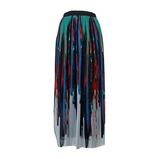 NY Collection Women's Pleated Printed Chiffon Maxi Skirt