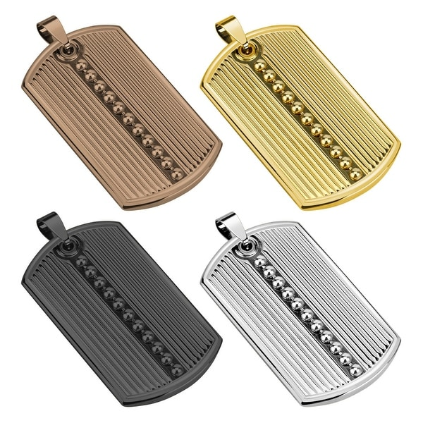 Ridged Pattern with Beaded Center Line Ion Plated Stainless Steel Dog Tag Pendant (30.5 mm Width)