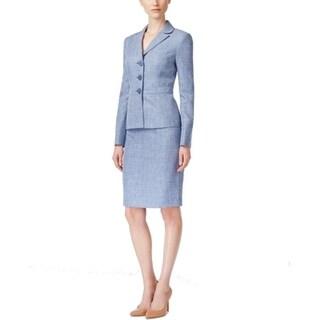 Le Suit NEW Blue Denim Women's Size 14 Three-Button Skirt Suit Set