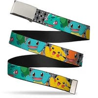 Blank Chrome Buckle Kanto Starter Pok�mon & Pikachu Close Up Rings Web Belt