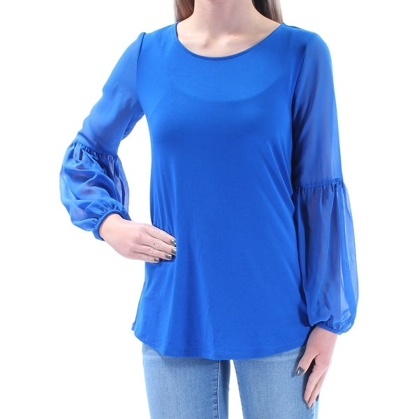 9dd8c51c7f8 Shop VINCE CAMUTO Womens Blue Long Sleeve Jewel Neck Top Size: 2XS - On  Sale - Free Shipping On Orders Over $45 - Overstock - 21354165